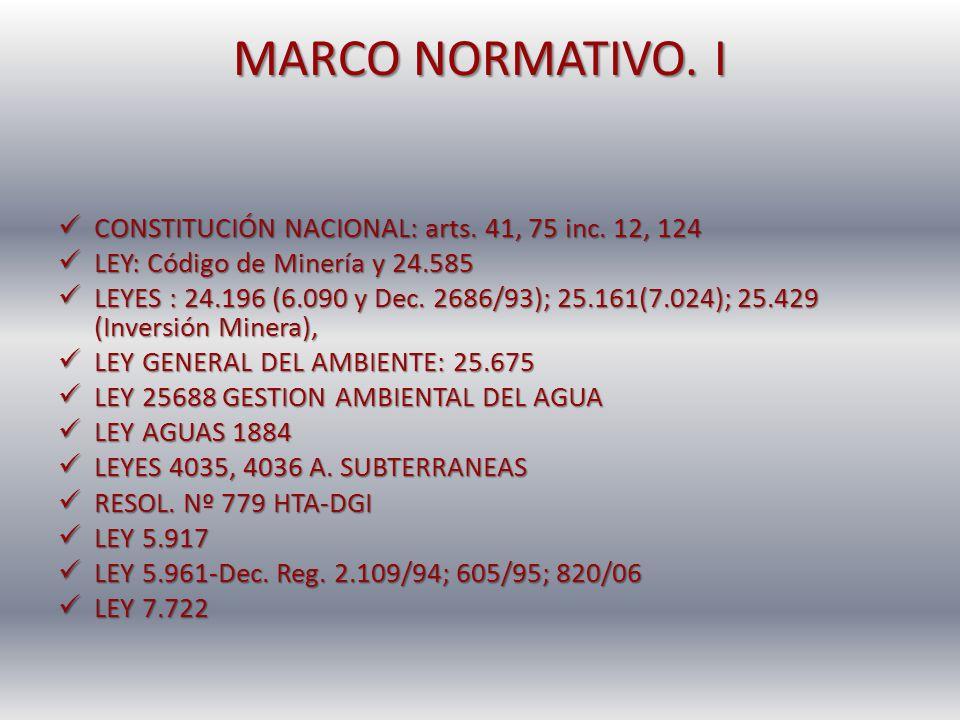 MARCO NORMATIVO. I CONSTITUCIÓN NACIONAL: arts. 41, 75 inc. 12, 124 CONSTITUCIÓN NACIONAL: arts. 41, 75 inc. 12, 124 LEY: Código de Minería y 24.585 L