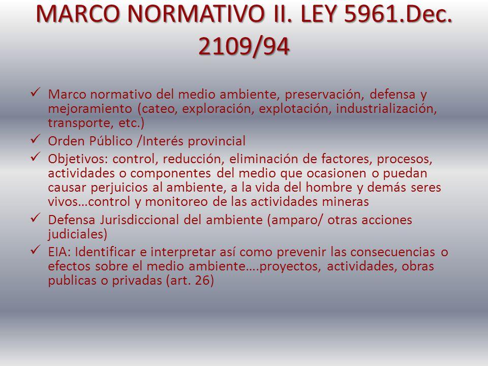 MARCO NORMATIVO II. LEY 5961.Dec. 2109/94 Marco normativo del medio ambiente, preservación, defensa y mejoramiento (cateo, exploración, explotación, i