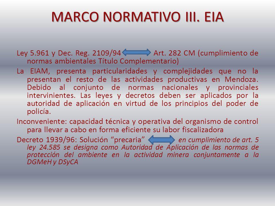 MARCO NORMATIVO III. EIA Ley 5.961 y Dec. Reg. 2109/94 Art. 282 CM (cumplimiento de normas ambientales Título Complementario) La EIAM, presenta partic