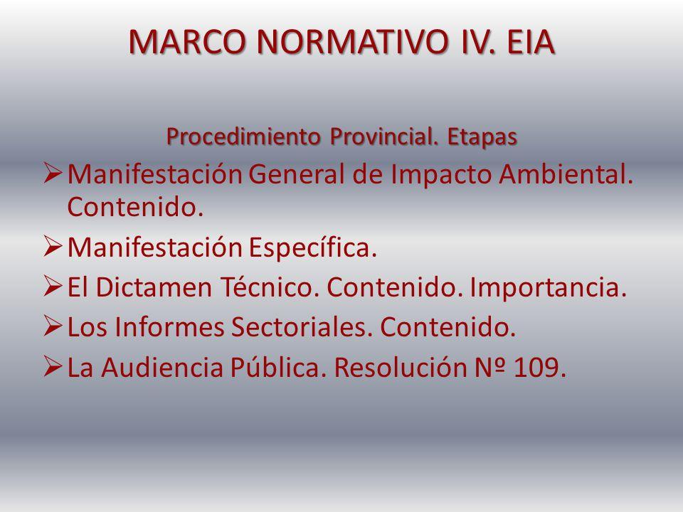 MARCO NORMATIVO IV. EIA Procedimiento Provincial. Etapas Manifestación General de Impacto Ambiental. Contenido. Manifestación Específica. El Dictamen
