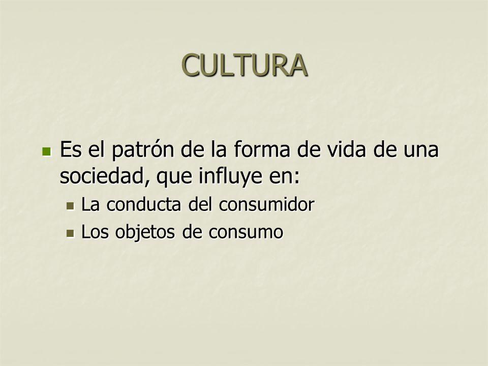 CULTURA Es el patrón de la forma de vida de una sociedad, que influye en: Es el patrón de la forma de vida de una sociedad, que influye en: La conduct