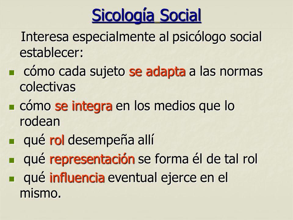Sicología Social Interesa especialmente al psicólogo social establecer: Interesa especialmente al psicólogo social establecer: cómo cada sujeto se ada