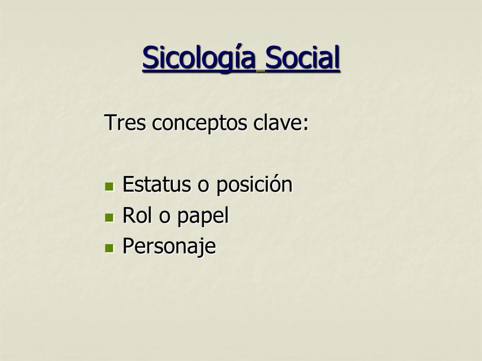 Sicología Social Tres conceptos clave: Estatus o posición Estatus o posición Rol o papel Rol o papel Personaje Personaje
