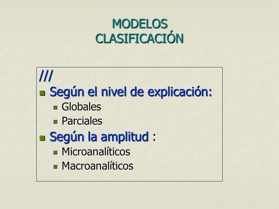 MODELOS CLASIFICACIÓN /// Según el nivel de explicación: Según el nivel de explicación: Globales Globales Parciales Parciales Según la amplitud : Segú