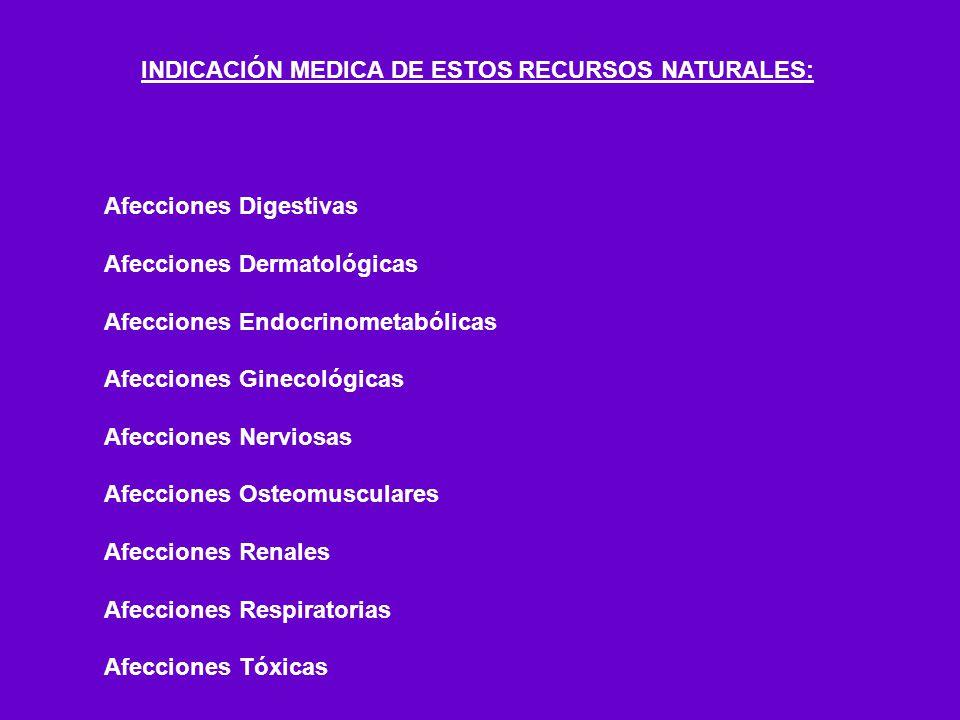 INDICACIÓN MEDICA DE ESTOS RECURSOS NATURALES: Afecciones Digestivas Afecciones Dermatológicas Afecciones Endocrinometabólicas Afecciones Ginecológica