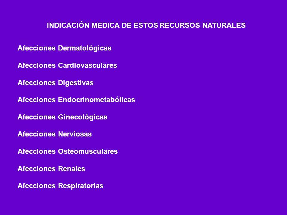 INDICACIÓN MEDICA DE ESTOS RECURSOS NATURALES Afecciones Dermatológicas Afecciones Cardiovasculares Afecciones Digestivas Afecciones Endocrinometabóli