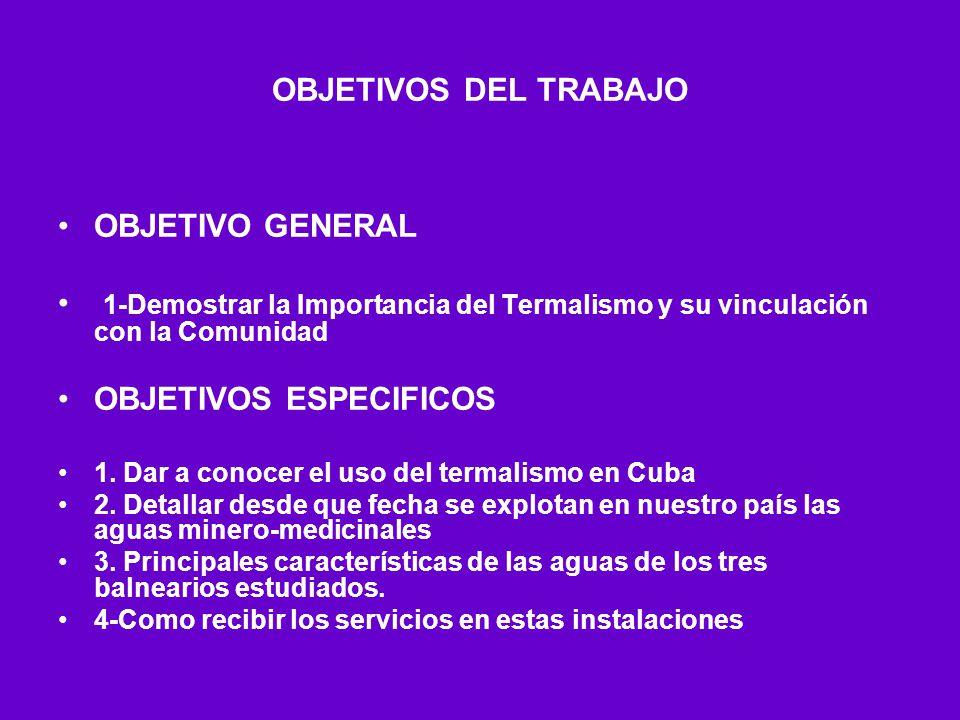 OBJETIVOS DEL TRABAJO OBJETIVO GENERAL 1-Demostrar la Importancia del Termalismo y su vinculación con la Comunidad OBJETIVOS ESPECIFICOS 1. Dar a cono