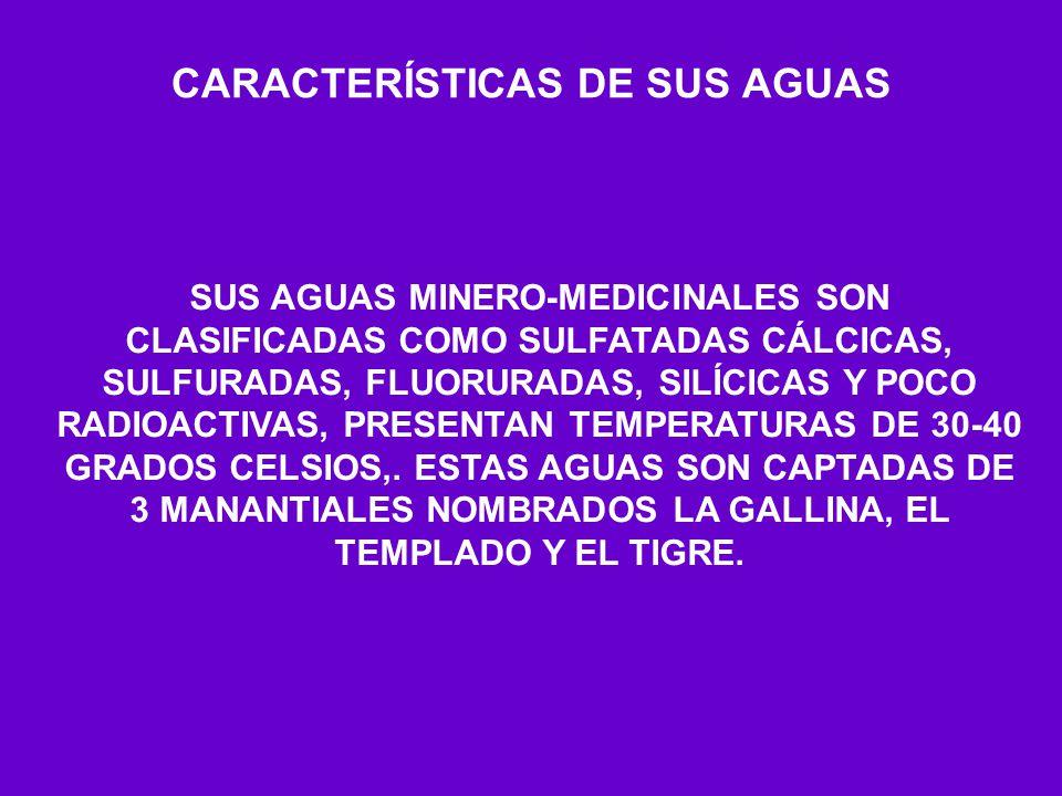 CARACTERÍSTICAS DE SUS AGUAS SUS AGUAS MINERO-MEDICINALES SON CLASIFICADAS COMO SULFATADAS CÁLCICAS, SULFURADAS, FLUORURADAS, SILÍCICAS Y POCO RADIOAC