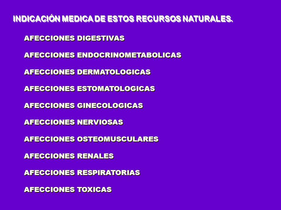 INDICACIÓN MEDICA DE ESTOS RECURSOS NATURALES. AFECCIONES DIGESTIVAS AFECCIONES ENDOCRINOMETABOLICAS AFECCIONES DERMATOLOGICAS AFECCIONES ESTOMATOLOGI