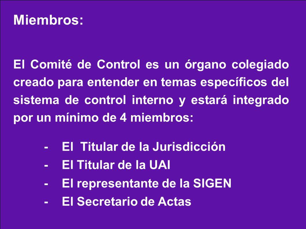 Miembros: El Comité de Control es un órgano colegiado creado para entender en temas específicos del sistema de control interno y estará integrado por un mínimo de 4 miembros: - El Titular de la Jurisdicción - El Titular de la UAI - El representante de la SIGEN - El Secretario de Actas