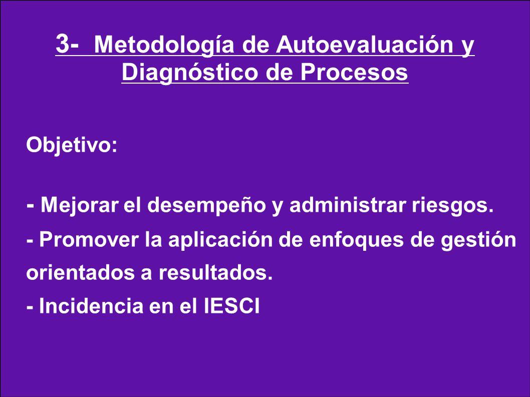 Objetivo: - Mejorar el desempeño y administrar riesgos. - Promover la aplicación de enfoques de gestión orientados a resultados. - Incidencia en el IE