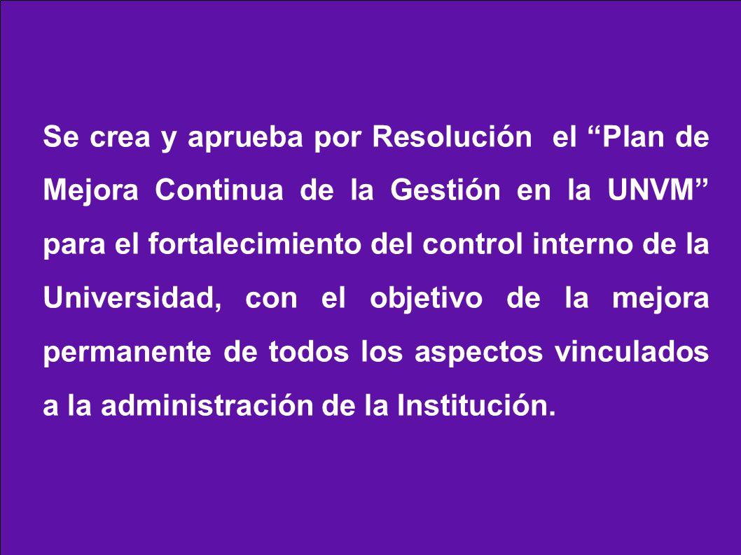 Se crea y aprueba por Resolución el Plan de Mejora Continua de la Gestión en la UNVM para el fortalecimiento del control interno de la Universidad, con el objetivo de la mejora permanente de todos los aspectos vinculados a la administración de la Institución.