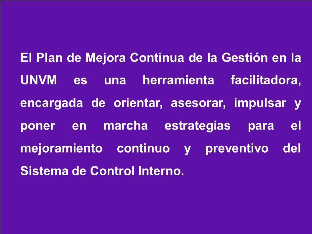 El Plan de Mejora Continua de la Gestión en la UNVM es una herramienta facilitadora, encargada de orientar, asesorar, impulsar y poner en marcha estrategias para el mejoramiento continuo y preventivo del Sistema de Control Interno.