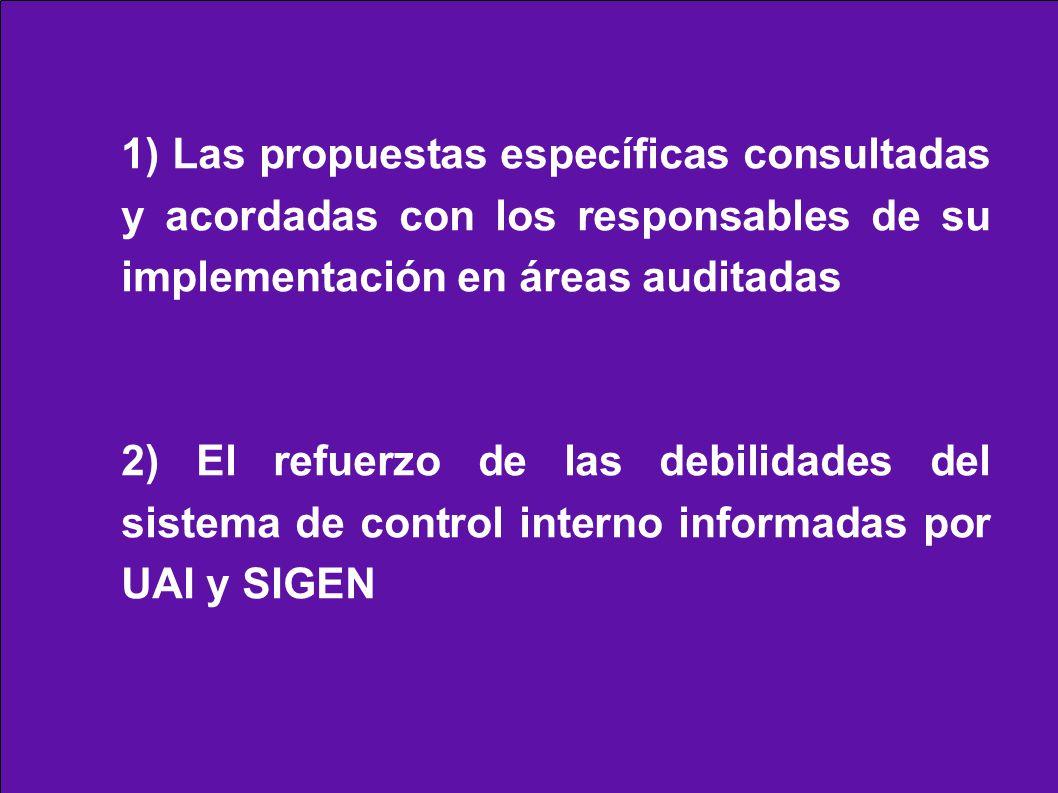 1) Las propuestas específicas consultadas y acordadas con los responsables de su implementación en áreas auditadas 2) El refuerzo de las debilidades del sistema de control interno informadas por UAI y SIGEN