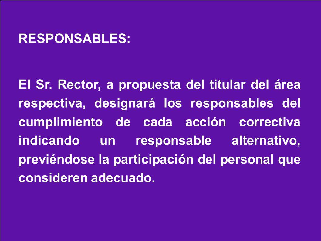 RESPONSABLES: El Sr. Rector, a propuesta del titular del área respectiva, designará los responsables del cumplimiento de cada acción correctiva indica