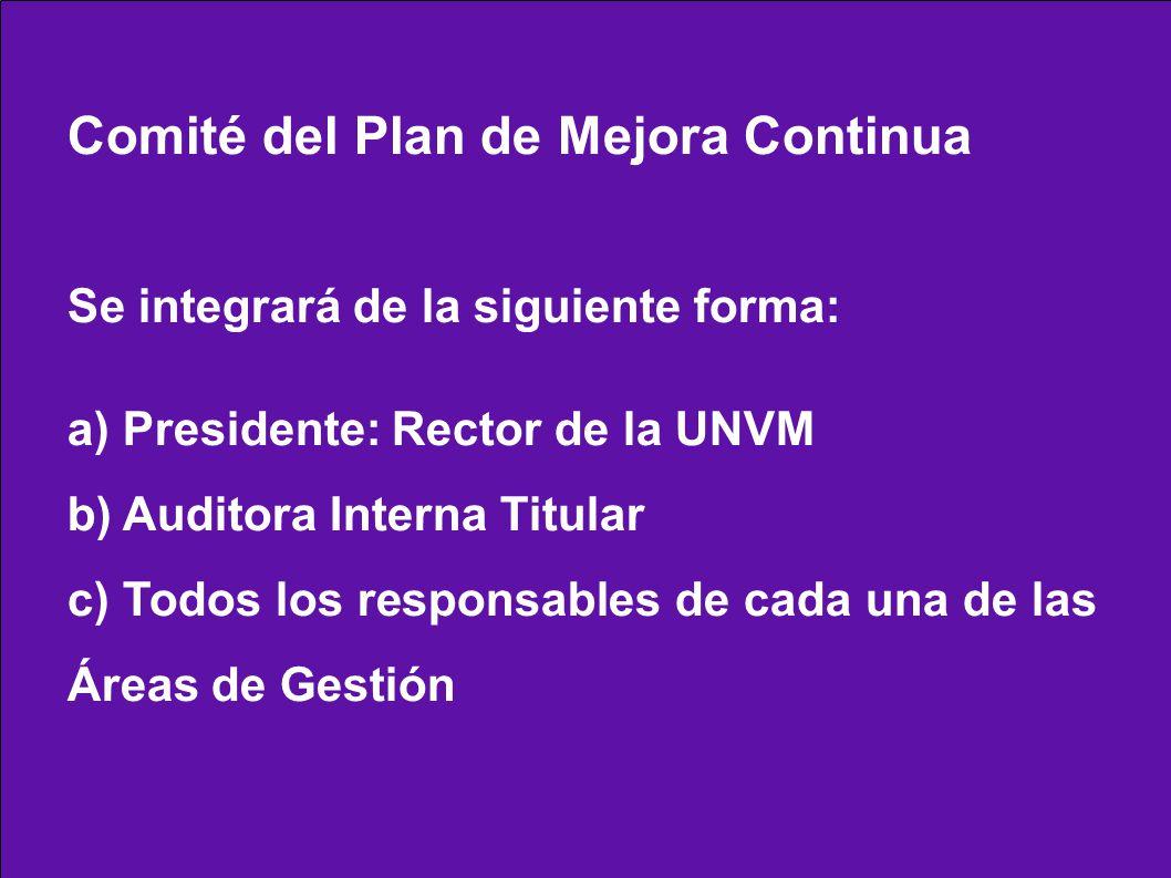 Comité del Plan de Mejora Continua Se integrará de la siguiente forma: a) Presidente: Rector de la UNVM b) Auditora Interna Titular c) Todos los responsables de cada una de las Áreas de Gestión