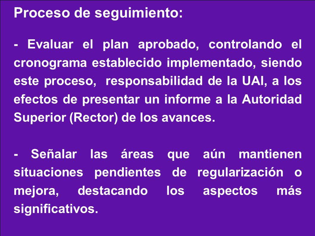 Proceso de seguimiento: - Evaluar el plan aprobado, controlando el cronograma establecido implementado, siendo este proceso, responsabilidad de la UAI, a los efectos de presentar un informe a la Autoridad Superior (Rector) de los avances.