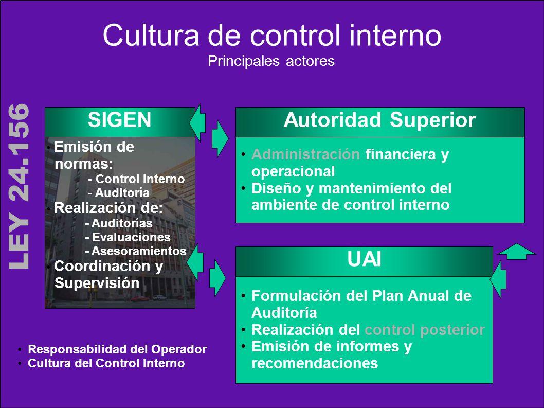 Cultura de control interno Principales actores SIGEN Autoridad Superior Administración financiera y operacional Diseño y mantenimiento del ambiente de
