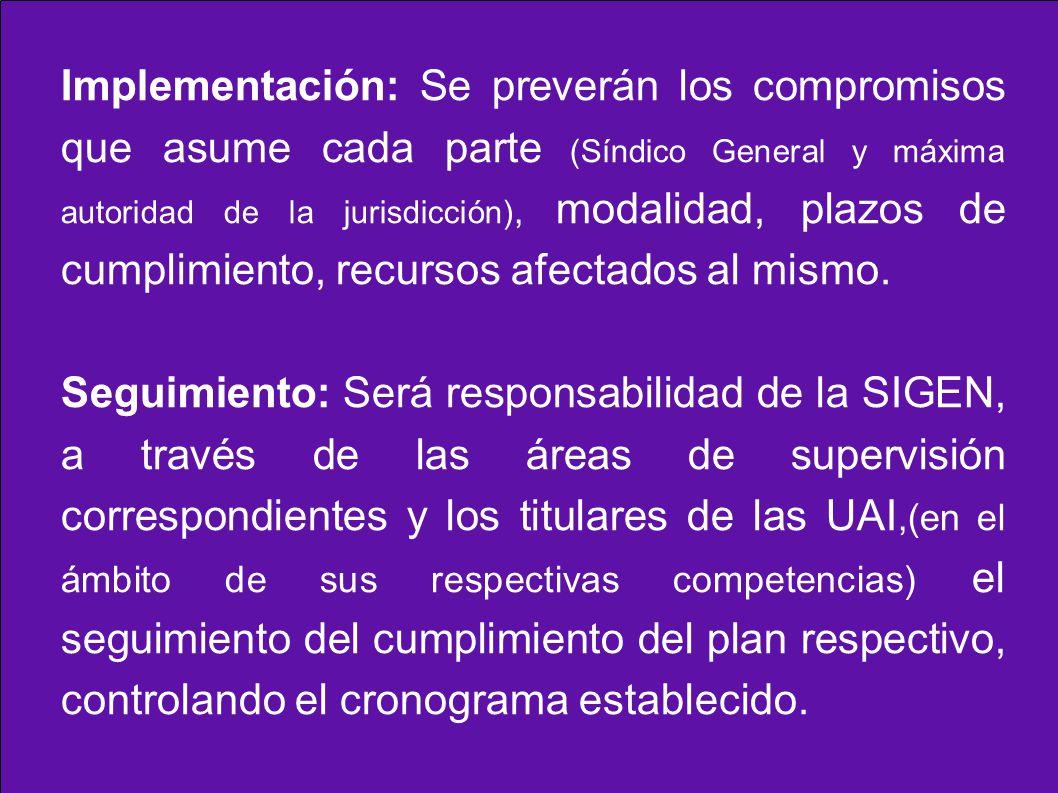 Implementación: Se preverán los compromisos que asume cada parte (Síndico General y máxima autoridad de la jurisdicción), modalidad, plazos de cumplim
