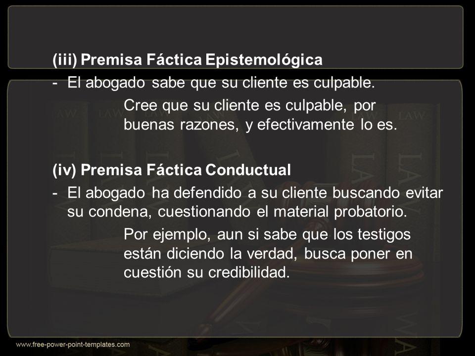 (iii) Premisa Fáctica Epistemológica -El abogado sabe que su cliente es culpable.