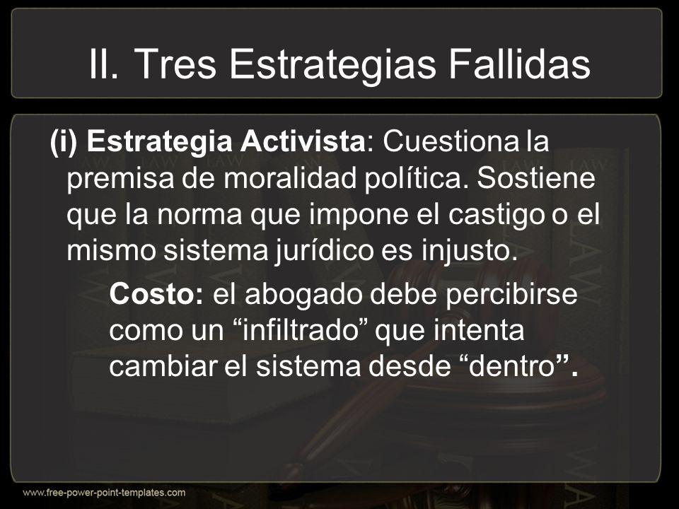 II.Tres Estrategias Fallidas (i) Estrategia Activista: Cuestiona la premisa de moralidad política.