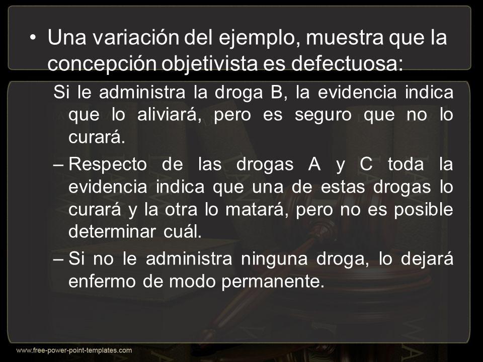 Una variación del ejemplo, muestra que la concepción objetivista es defectuosa: Si le administra la droga B, la evidencia indica que lo aliviará, pero es seguro que no lo curará.
