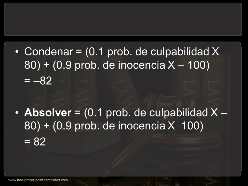 Condenar = (0.1 prob.de culpabilidad X 80) + (0.9 prob.