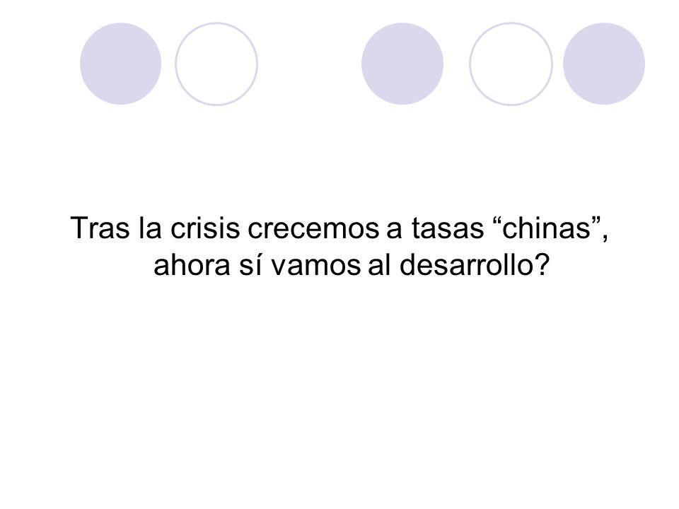 Tras la crisis crecemos a tasas chinas, ahora sí vamos al desarrollo