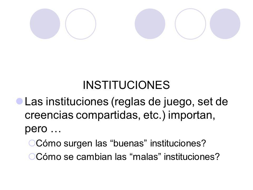 INSTITUCIONES Las instituciones (reglas de juego, set de creencias compartidas, etc.) importan, pero … Cómo surgen las buenas instituciones.