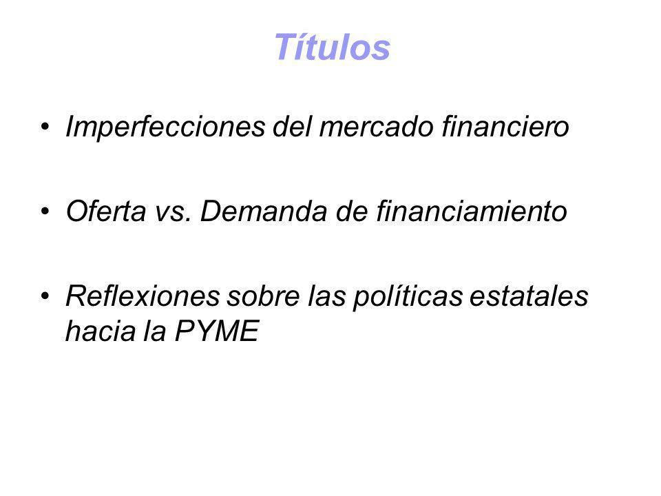 Títulos Imperfecciones del mercado financiero Oferta vs. Demanda de financiamiento Reflexiones sobre las políticas estatales hacia la PYME