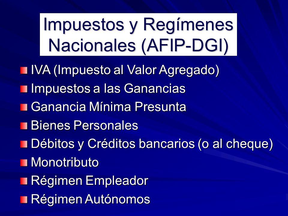 Impuestos y Regímenes Nacionales (AFIP-DGI) IVA (Impuesto al Valor Agregado) Impuestos a las Ganancias Ganancia Mínima Presunta Bienes Personales Débi