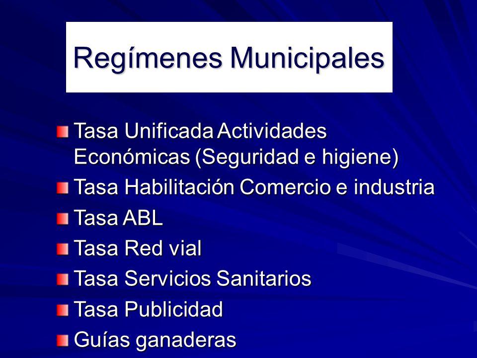Regímenes Municipales Tasa Unificada Actividades Económicas (Seguridad e higiene) Tasa Habilitación Comercio e industria Tasa ABL Tasa Red vial Tasa S