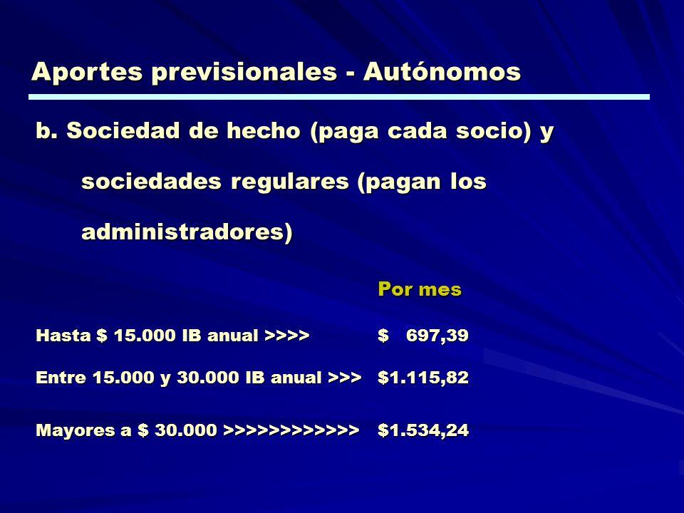 b. Sociedad de hecho (paga cada socio) y sociedades regulares (pagan los administradores) Por mes Hasta $ 15.000 IB anual >>>> $ 697,39 Entre 15.000 y