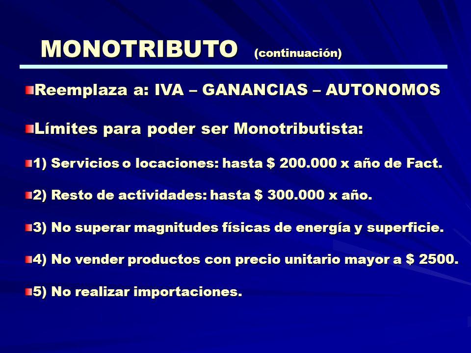 Reemplaza a: IVA – GANANCIAS – AUTONOMOS Límites para poder ser Monotributista: 1) Servicios o locaciones: hasta $ 200.000 x año de Fact. 2) Resto de