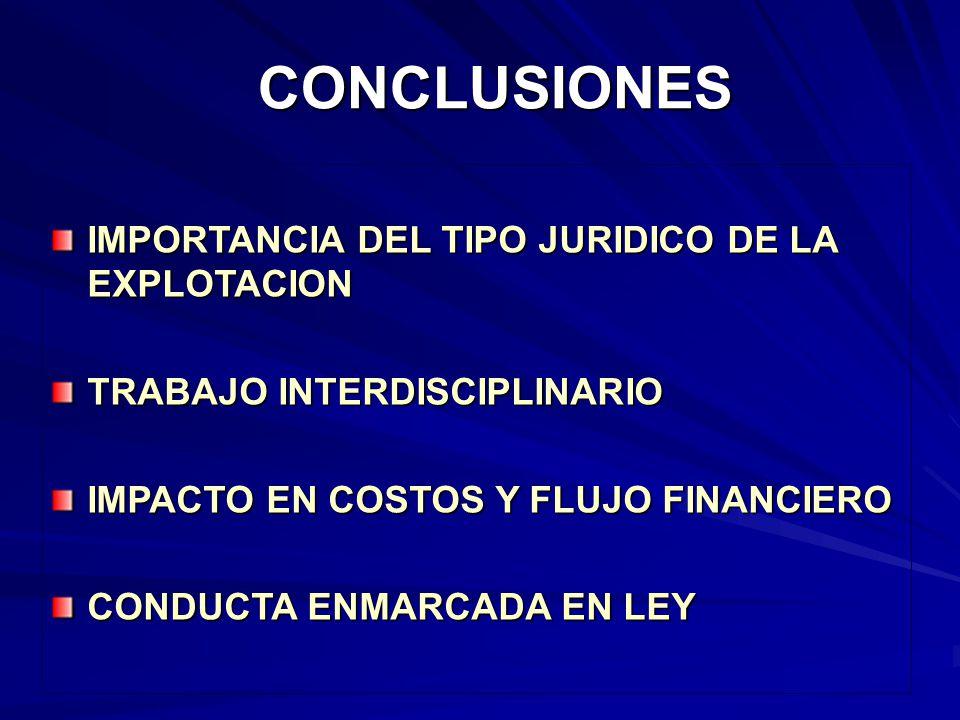CONCLUSIONES IMPORTANCIA DEL TIPO JURIDICO DE LA EXPLOTACION TRABAJO INTERDISCIPLINARIO IMPACTO EN COSTOS Y FLUJO FINANCIERO CONDUCTA ENMARCADA EN LEY