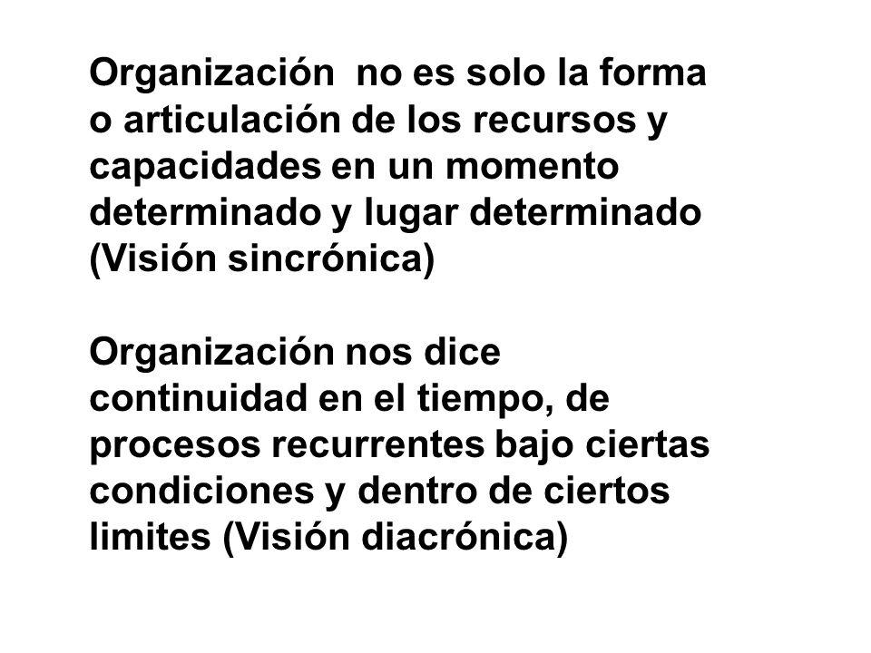 Organización no es solo la forma o articulación de los recursos y capacidades en un momento determinado y lugar determinado (Visión sincrónica) Organi