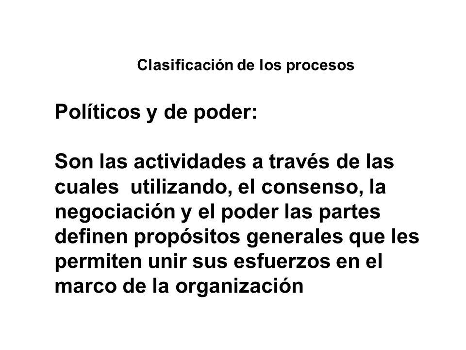 Clasificación de los procesos Políticos y de poder: Son las actividades a través de las cuales utilizando, el consenso, la negociación y el poder las