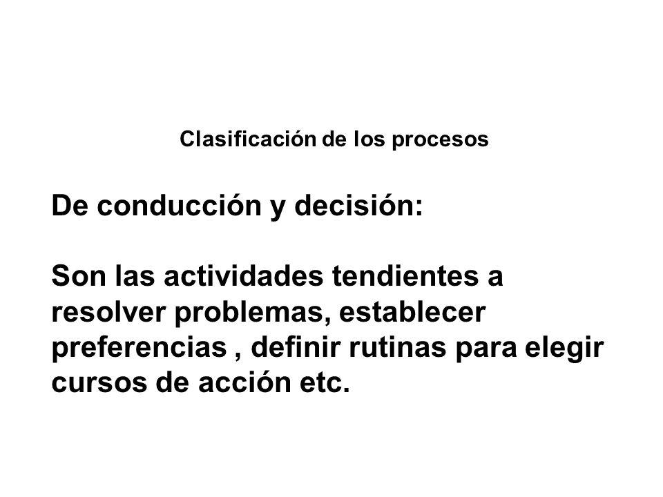 Clasificación de los procesos De conducción y decisión: Son las actividades tendientes a resolver problemas, establecer preferencias, definir rutinas