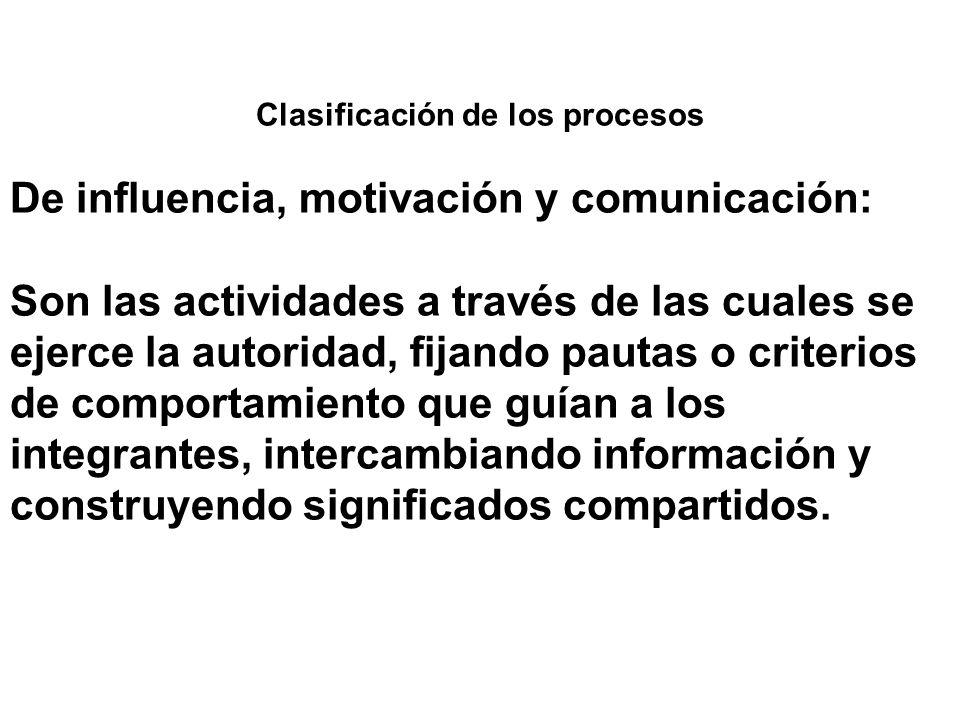 Clasificación de los procesos De influencia, motivación y comunicación: Son las actividades a través de las cuales se ejerce la autoridad, fijando pau