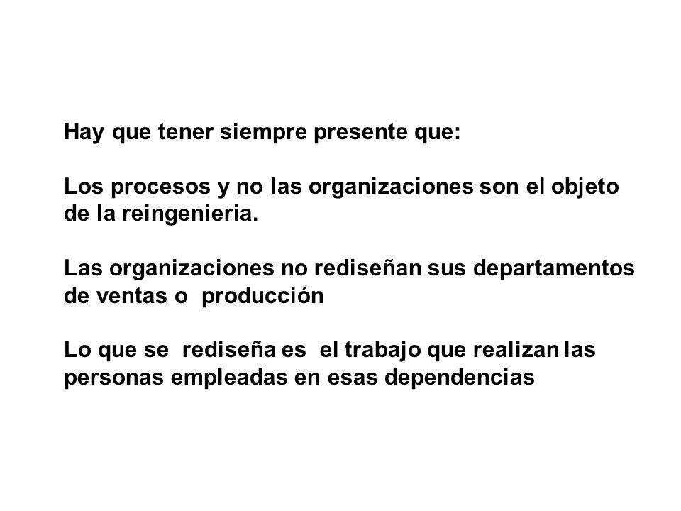 Hay que tener siempre presente que: Los procesos y no las organizaciones son el objeto de la reingenieria. Las organizaciones no rediseñan sus departa