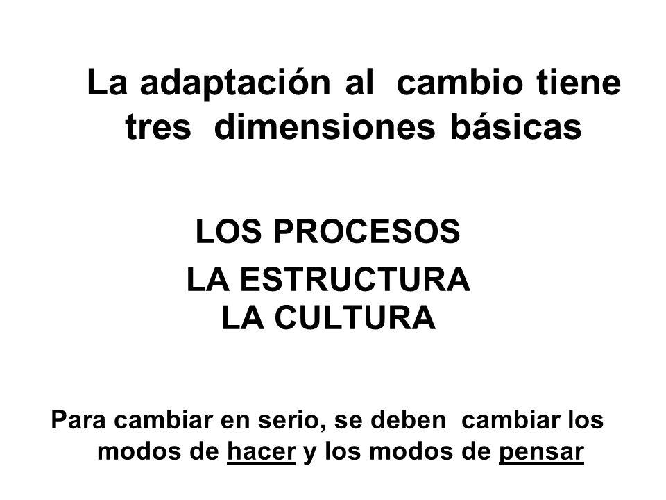 La adaptación al cambio tiene tres dimensiones básicas LOS PROCESOS LA ESTRUCTURA LA CULTURA Para cambiar en serio, se deben cambiar los modos de hace