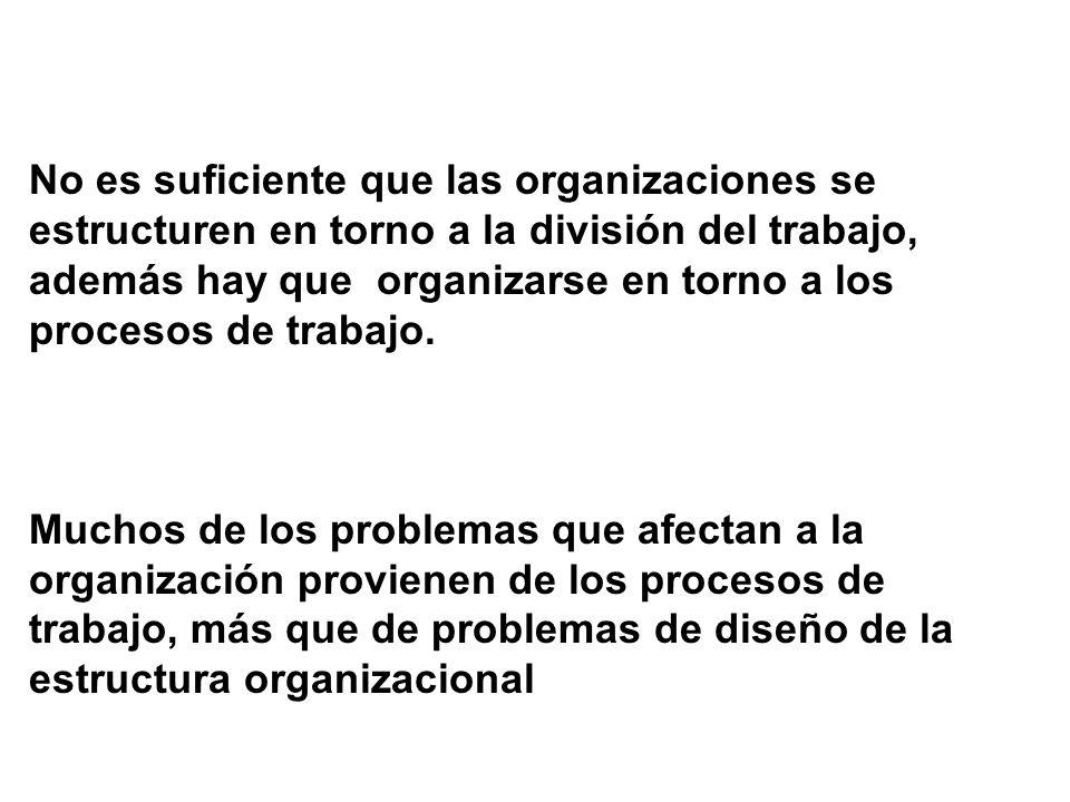 No es suficiente que las organizaciones se estructuren en torno a la división del trabajo, además hay que organizarse en torno a los procesos de traba