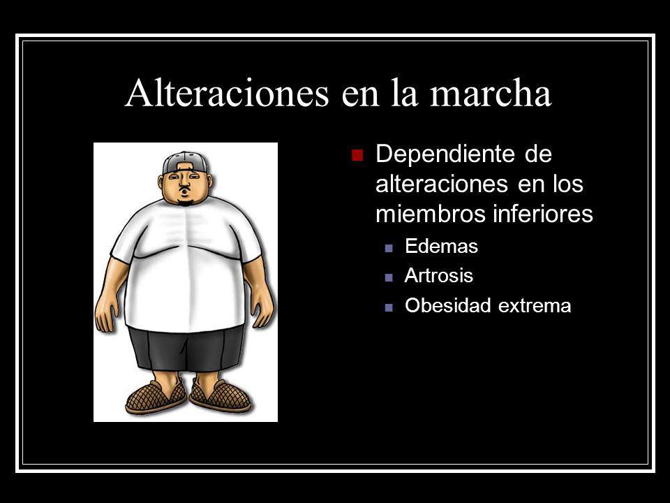 Alteraciones en la marcha Dependiente de alteraciones en los miembros inferiores Edemas Artrosis Obesidad extrema