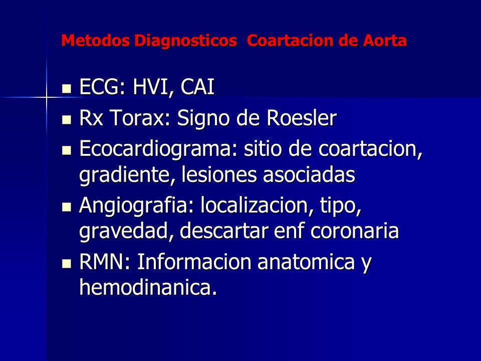 Metodos Diagnosticos Coartacion de Aorta ECG: HVI, CAI ECG: HVI, CAI Rx Torax: Signo de Roesler Rx Torax: Signo de Roesler Ecocardiograma: sitio de co