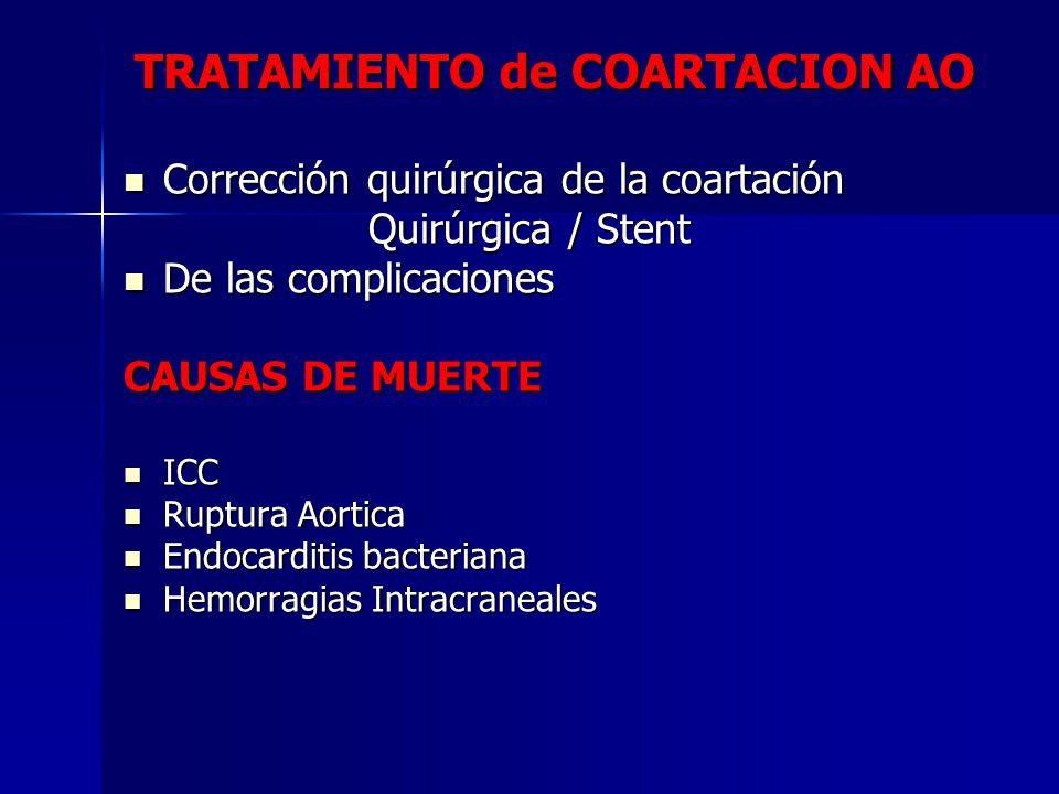TRATAMIENTO de COARTACION AO Corrección quirúrgica de la coartación Corrección quirúrgica de la coartación Quirúrgica / Stent Quirúrgica / Stent De la