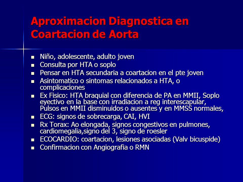 Aproximacion Diagnostica en Coartacion de Aorta Niño, adolescente, adulto joven Niño, adolescente, adulto joven Consulta por HTA o soplo Consulta por