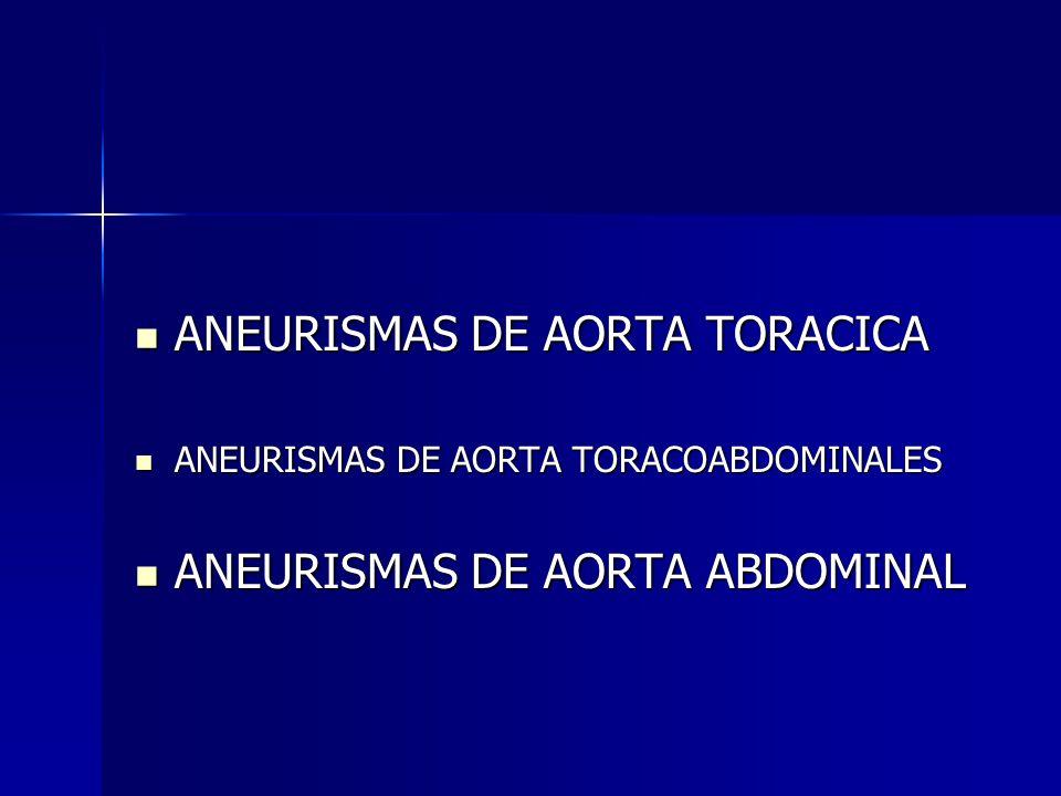 ANEURISMAS DE AORTA TORACICA ANEURISMAS DE AORTA TORACICA ANEURISMAS DE AORTA TORACOABDOMINALES ANEURISMAS DE AORTA TORACOABDOMINALES ANEURISMAS DE AO