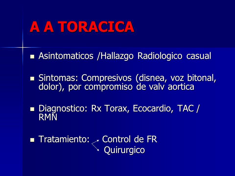A A TORACICA Asintomaticos /Hallazgo Radiologico casual Asintomaticos /Hallazgo Radiologico casual Sintomas: Compresivos (disnea, voz bitonal, dolor),
