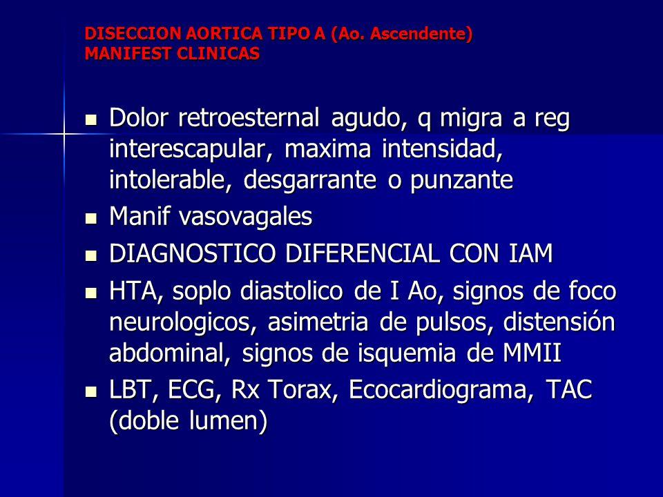 DISECCION AORTICA TIPO A (Ao. Ascendente) MANIFEST CLINICAS Dolor retroesternal agudo, q migra a reg interescapular, maxima intensidad, intolerable, d