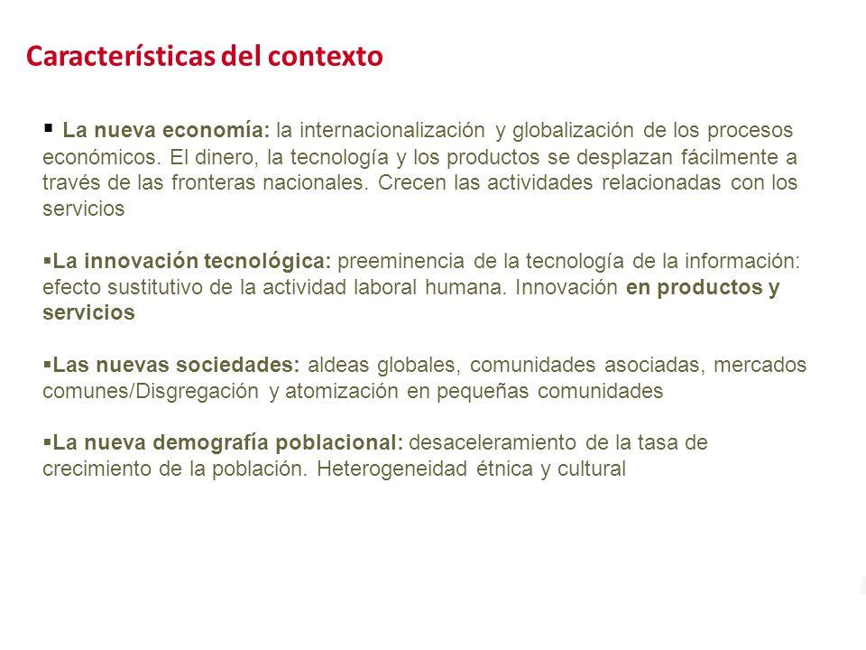 Características del contexto La nueva economía: la internacionalización y globalización de los procesos económicos.